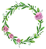 Watercolor greenary wreath with flowers . Floral arrangement Stock Photos