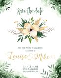 Watercolor greenery color wedding invitation card with green and gold elements. paper texture with floral and leaves Royalty Free Stock Photos