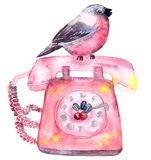 Watercolor greeting card Bullfinch stock illustration