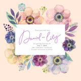 Watercolor greeting card flowers. Handmade. Congratulations background. Flowers card Royalty Free Stock Photography