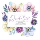 Watercolor greeting card flowers. Handmade. Congratulations background. Flowers card Royalty Free Stock Photos
