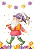 Watercolor greeting card with gnome, lantern, crystals. stock illustration