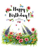 Watercolor greeting card Happy Birthday dear grandmother with flower lawn and lettering in flower frame Royalty Free Stock Image