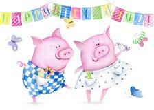 Watercolor greeting card Happy Birthday vector illustration