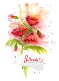 Watercolor greeting card 8 March with red poppy flowers. Greeting card 8 March with red poppy flowers. International Women`s Day. Beautiful bouquet of poppies royalty free illustration
