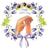 Watercolor hand-painted greeting card Happy Mother`s day stock illustration