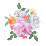 Watercolor greeting card with roses,  for Stock Photo