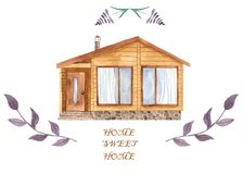 Watercolor greeting card sweet home. House chalet, flowers, branches. stock illustration