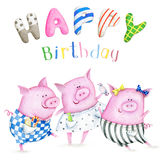 Watercolor greeting card with three funny piglets. Hand drawn watercolor image of fanny piglets. The author is Ekaterina Mikheeva, date of creation - December Vector Illustration