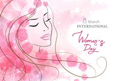 Watercolor greeting card with women`s day. Watercolor background Stock Images