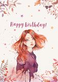 Watercolor Greeting post card layout with boho ginger girl - happy birthday post card stock images