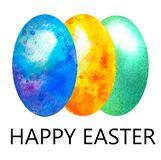 Watercolor greetings with happy Easter. Set of three colorful marble eggs in green, blue and yellow in spots vector illustration