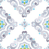Watercolor grey lace pattern Stock Photo
