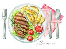 Watercolor grilled meat steak with garnish on a plate, cutlery a royalty free illustration