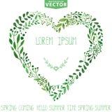 watercolor Grinalda do coração dos ramos do verde Fundo ilustração stock