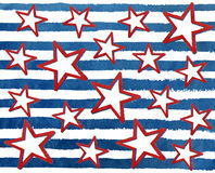 Watercolor grunge red stars on grunge watercolor blue stripes. Stock Photos