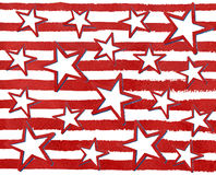 Watercolor grunge red stars on grunge watercolor red stripes. Royalty Free Stock Images
