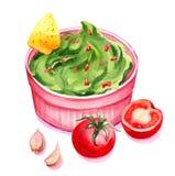 Watercolor Guacamole Στοκ εικόνα με δικαίωμα ελεύθερης χρήσης