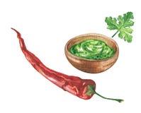 Watercolor guacamole sauce and chili pepper Stock Photo