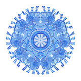 Watercolor gzhel. Doily round lace pattern, circle background wi Stock Images