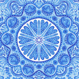 Watercolor gzhel. Doily round lace pattern, circle background wi Stock Image