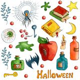 Watercolor Halloween set. holiday icons isolated on white background.  Cartoon Halloween vector illustration