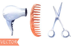 Watercolor hair dryers, scissors and comb Stock Images