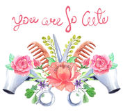 Watercolor hair dryers, scissors and comb set over white. With flowers and text Stock Images