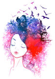Watercolor hair girl Stock Images
