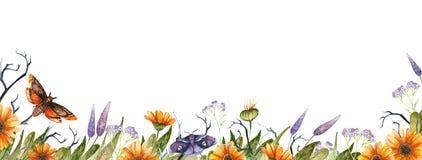 Watercolor Halloween border vector illustration