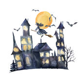 Watercolor Halloween card. Hand painted Castle with glowing windows, bats and witch isolated on white background Royalty Free Stock Image