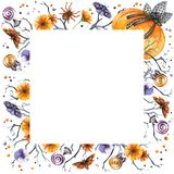 Watercolor Halloween frame royalty free illustration