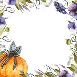 Watercolor Halloween frame royalty free illustration