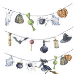 Watercolor Halloween garland. Hand painted Halloween symbols isolated on white background. Pumpkin, witch, candy, spider. Watercolor Halloween garland. Hand Stock Photo