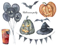 Watercolor Halloween party set. Hand painted dark hot air balloons, flag garland, cocktail with web and spider, bats. Pumpkins wirh face, witch hat. Holiday royalty free illustration