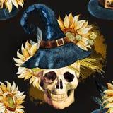 Watercolor halloween pattern Stock Image
