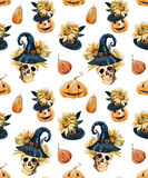 Watercolor halloween pattern Stock Photo