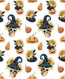 Watercolor halloween pattern Stock Photo