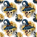 Watercolor halloween pattern Stock Photography