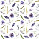 Watercolor Halloween pattern of flowers and butterflies vector illustration