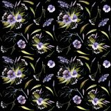 Watercolor halloween pattern of flowers and insects stock illustration
