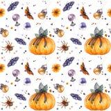 Watercolor Halloween pattern vector illustration