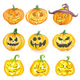 Watercolor halloween pumpkin set. Royalty Free Stock Images