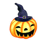 Watercolor halloween pumpkin with witch hat Stock Images