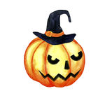 Watercolor halloween pumpkin with witch hat Stock Photo