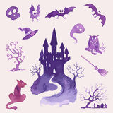 Watercolor Halloween set Stock Image