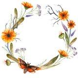 Watercolor halloween wreath of flowers royalty free illustration