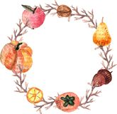 Watercolor halloween wreath vector illustration