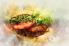 Watercolor Hamburger Design for Creative Projects royalty free illustration