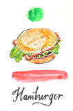 Watercolor hamburger Royalty Free Stock Photo